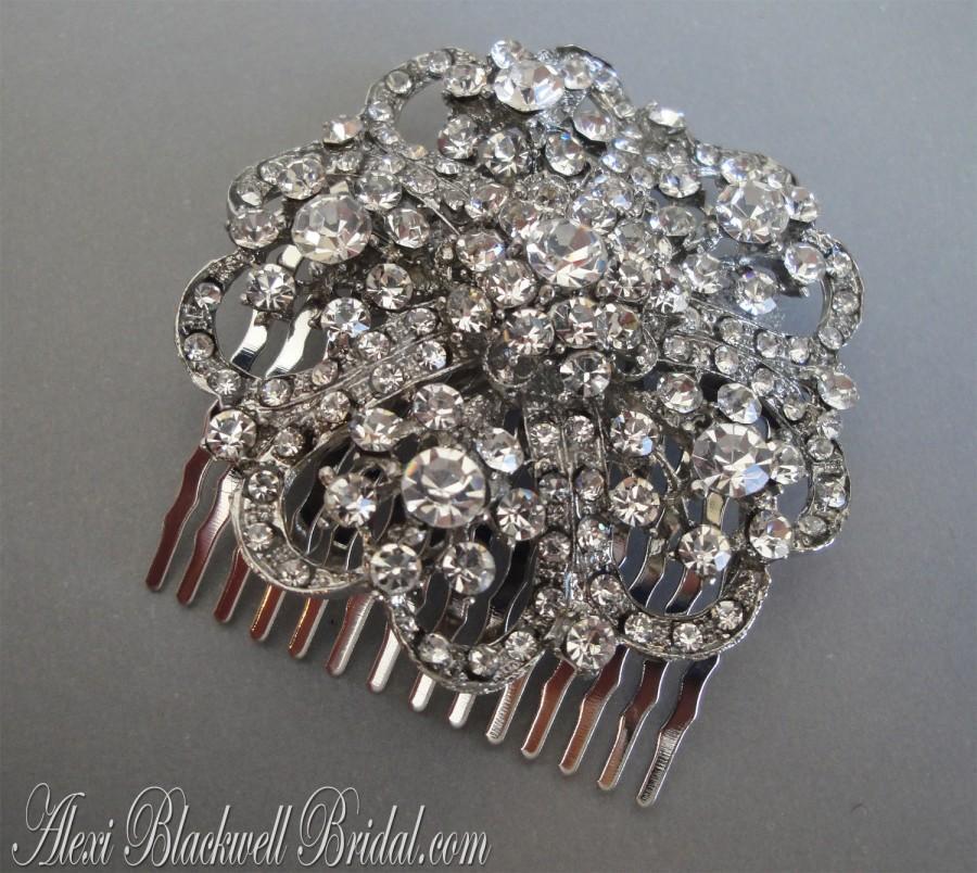Mariage - Bridal Hair Comb Art Deco Rhinestone Hair Accessories vintage style bridal veil wedding headpiece silver Audrey tiara crown Breakfast at