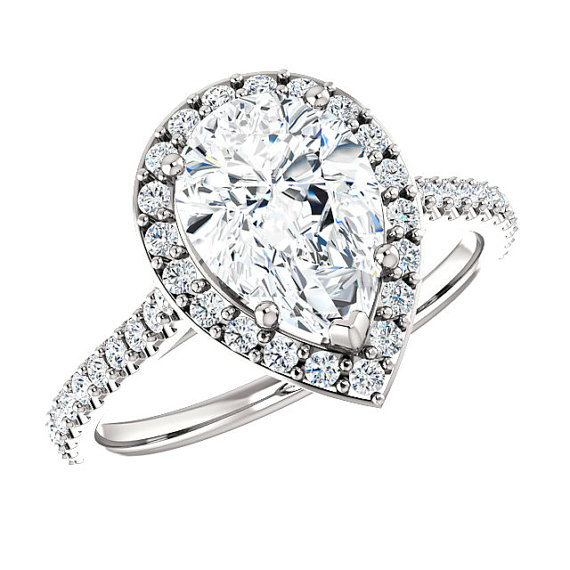 Wedding - 10x7mm (2.25 ct) Pear Forever One Moissanite & Diamond Halo Twisted Shank Engagement Ring 14k, 18k or Platinum, Pear Shaped Engagement Rings