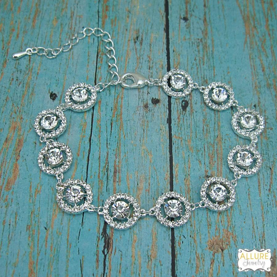Hochzeit - Rhinestone Bridal bracelet, wedding bracelet, rhinestone crystal bracelet, crystal bracelet, bridal jewelry, wedding accessories 208839780