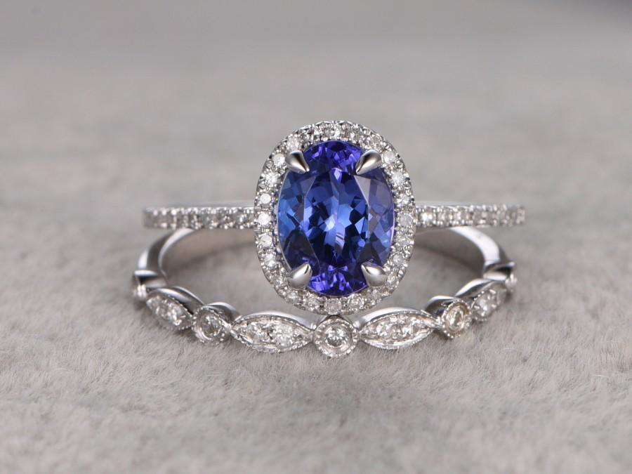 Hochzeit - 1.28ctw Tanzanite Wedding ring set,Engagement ring,Diamond Promise Ring,14K White Gold,Halo Bridal Ring,wedding band,Oval Blue Gemstone ring