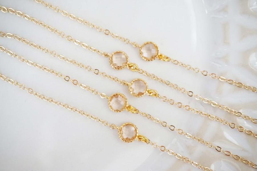 Hochzeit - Dainty Champagne Gem Bracelets