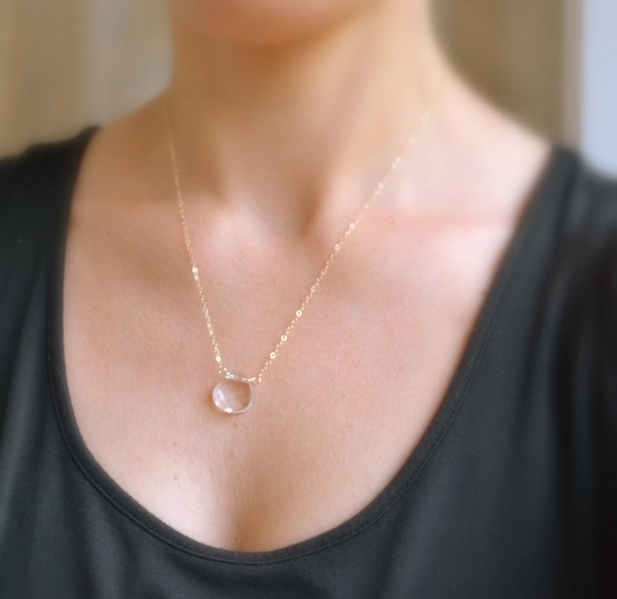 زفاف - Crystal Clear 14K Gold Necklace, Swarovski Crystal Necklace - Faceted, Rock Quartz Crystal Necklace -  Crystal Teardrop, Bridesmaids Gift