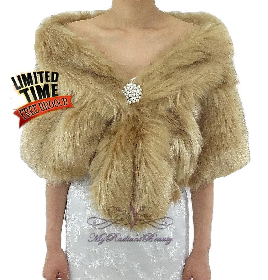 Mariage - Faux Fur Wrap, Faux Fur Stole, Vintage Brown Chinchilla Bridal Fur Shrug , Wedding Fur, Bridal Fur Stole, Fur Shrug, Fur Shawl, FS108-VBN