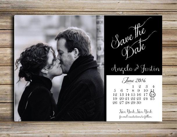 Hochzeit - Save the Date Magnet or Postcard Wedding Announcement, Include your engagment photo, Black tie, Formal Invitation, Calendar, DIY, PDF