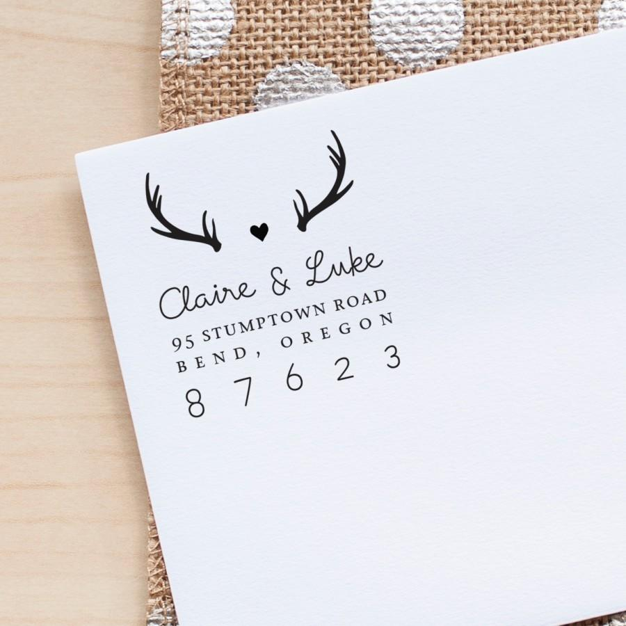 personalized return address stamp antlers address stamp