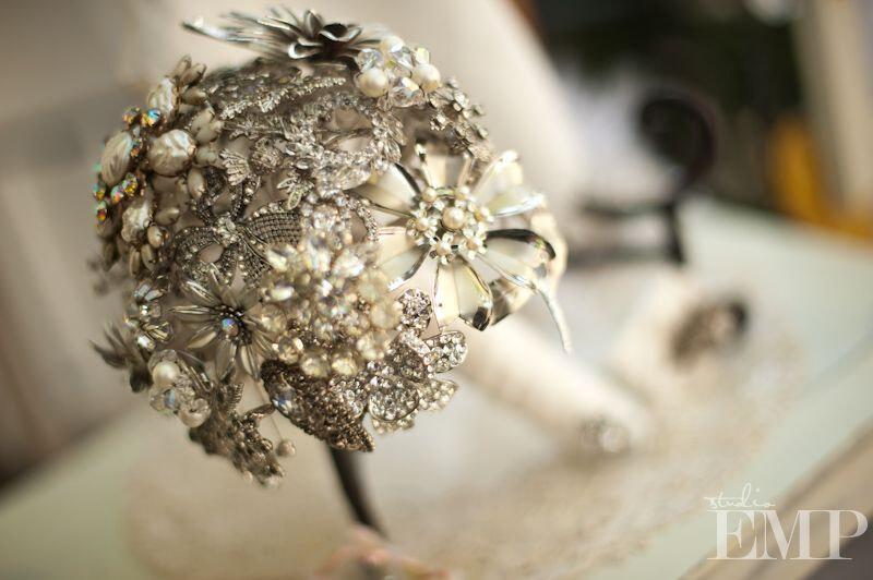 Wedding - Brooch Bouquet, Custom order using Vintage Rhinestone Brooches