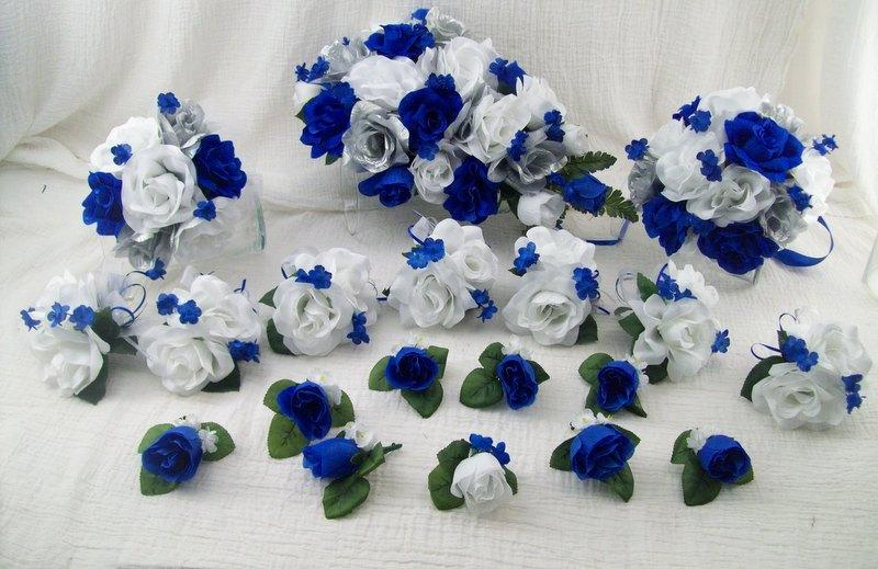 Silk wedding flowers cascade bridal bouquets royal blue silver and silk wedding flowers cascade bridal bouquets royal blue silver and white roses 18 pieces made to order brides on a budget wedding bouquets mightylinksfo