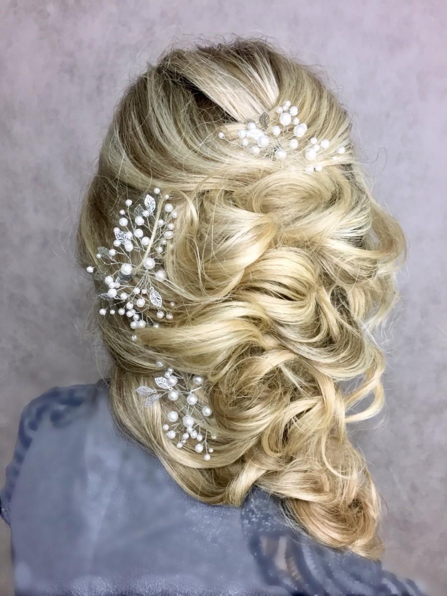Mariage - Bridal hair pins set of 3  Wedding pins Prom hair piece  Leaf hair pins Wedding hair piece  Bridal hair accessories  Wedding headpiece