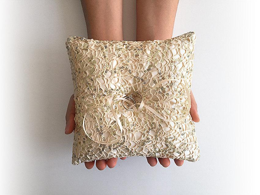 EXPRESS SHIPPING Wedding Ring Bearer Pillow Fishnet Sequin Gold Boho Gift