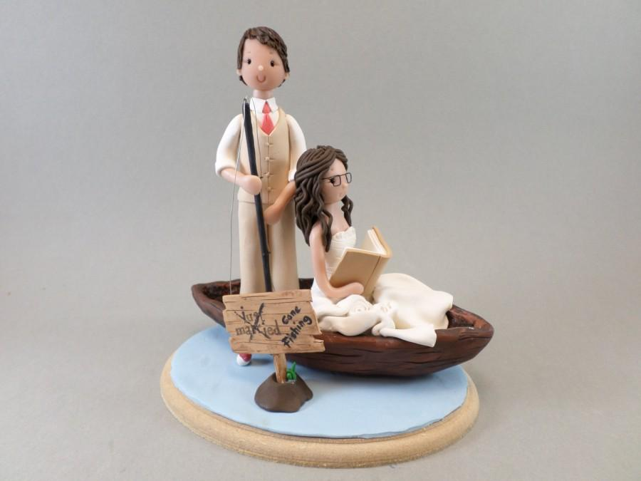Cape Toppers Personalized Bride Groom Fishing Theme Wedding Cake Topp