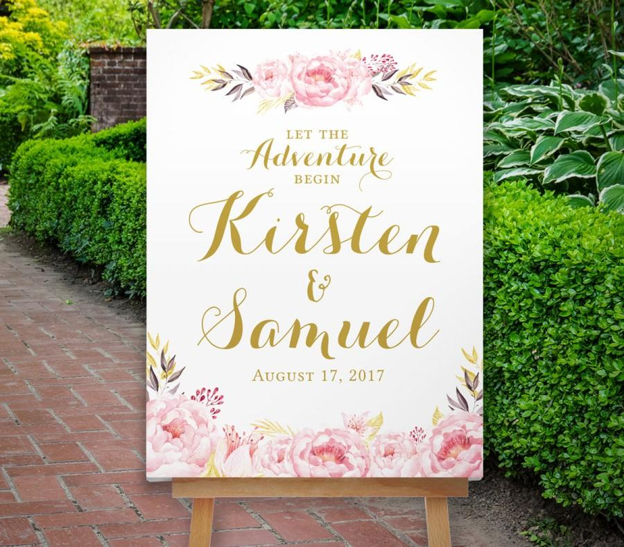 Mariage - Wedding Welcome Sign, Large Welcome Sign, Navy and Blush Pink, Reception Sign, Floral Wedding Welcome Sign, Boho, The Calistoga Collection