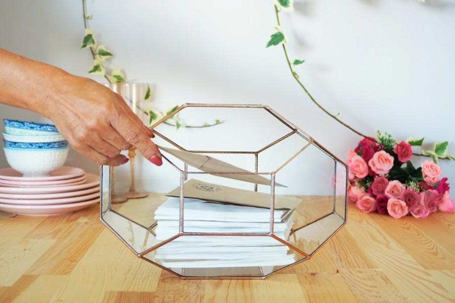 Mariage - Large Geometric Glass Box, Wedding Card Box, Glass Card Box, Wedding Card Holder, Envelope Holder, Large Terrarium, Wedding Centerpiece