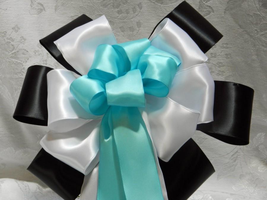 Mariage - Black White and Robbins Eggs Blue Satin Wedding/ Pew Bows set of 12