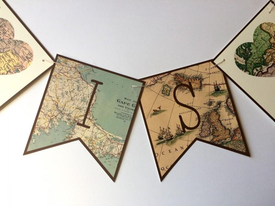 Mariage - Map Banner, Travel Banner, Bridal Shower Banner, Bridal Shower Map Banner, Travel Theme Banner, Map Bunting, Vintage Map Banner