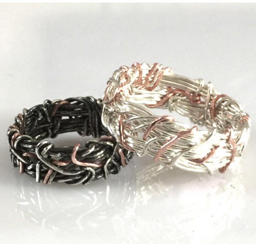 14k Rose Gold And Silver Yin Yang Wedding Bands His And Hers