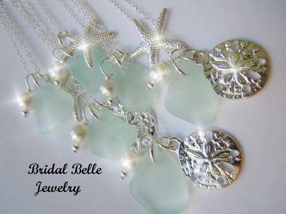 Wedding - Beach Wedding, Sea Glass Bridesmaid Necklace, Wedding Jewelry,  Starfish Jewelry Seaglass Necklace