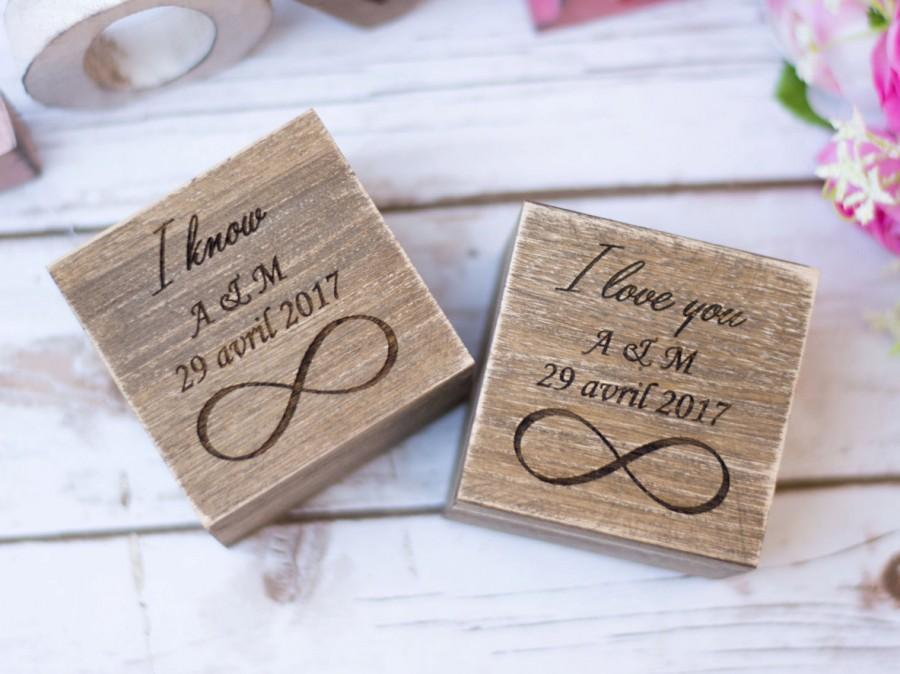 Mariage - Wedding Ring Box Rustic Wedding wooden ring Box Ring Bearer Ring Holder Personalized Ring Boxes Set of 2 Infinity Ring Box