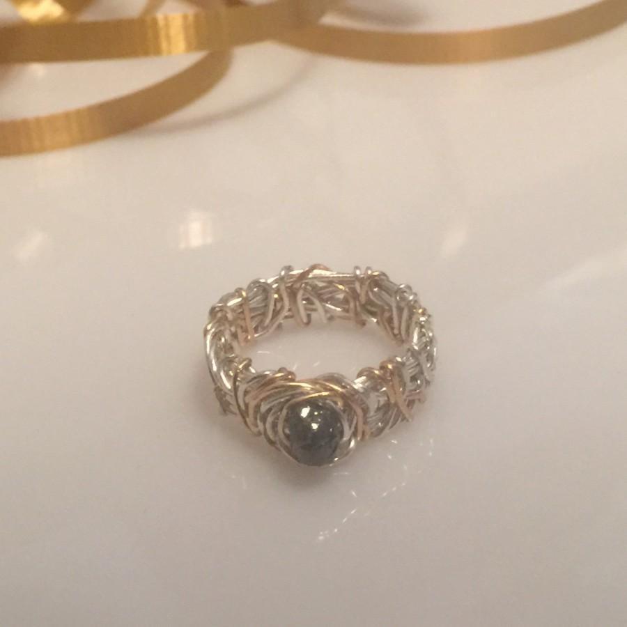Свадьба - Raw Diamond Engagement Ring, 14K Gold, Two Tone Wedding Band, Filigree Wedding Band, Unique Engagement Ring, Affordable Engagement Ring