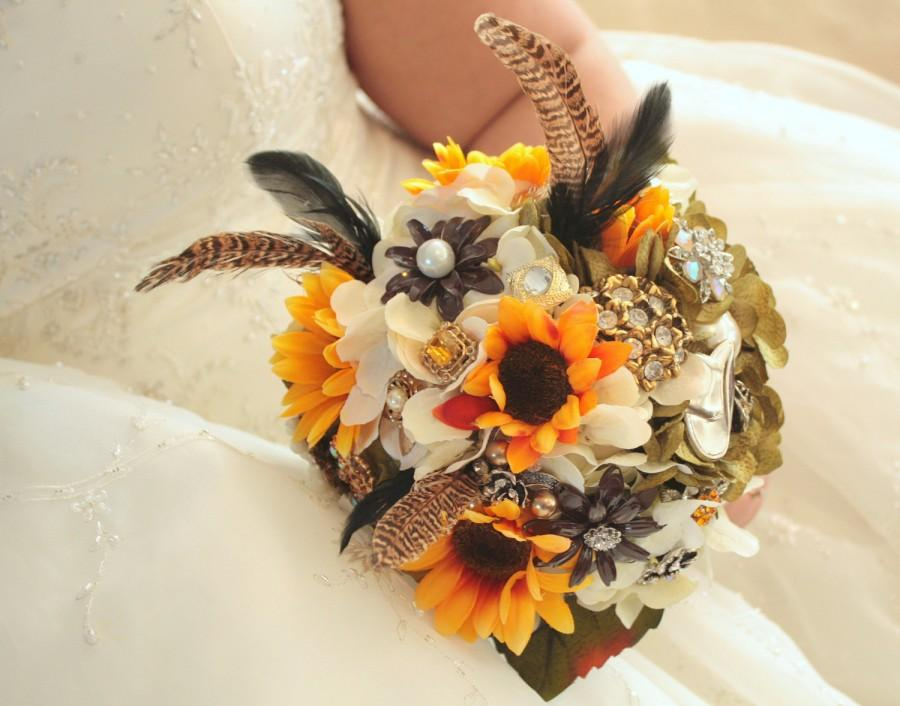 Mariage - Camo Hunting Pheasant  wedding bridal brooch bouquet etsy wedding