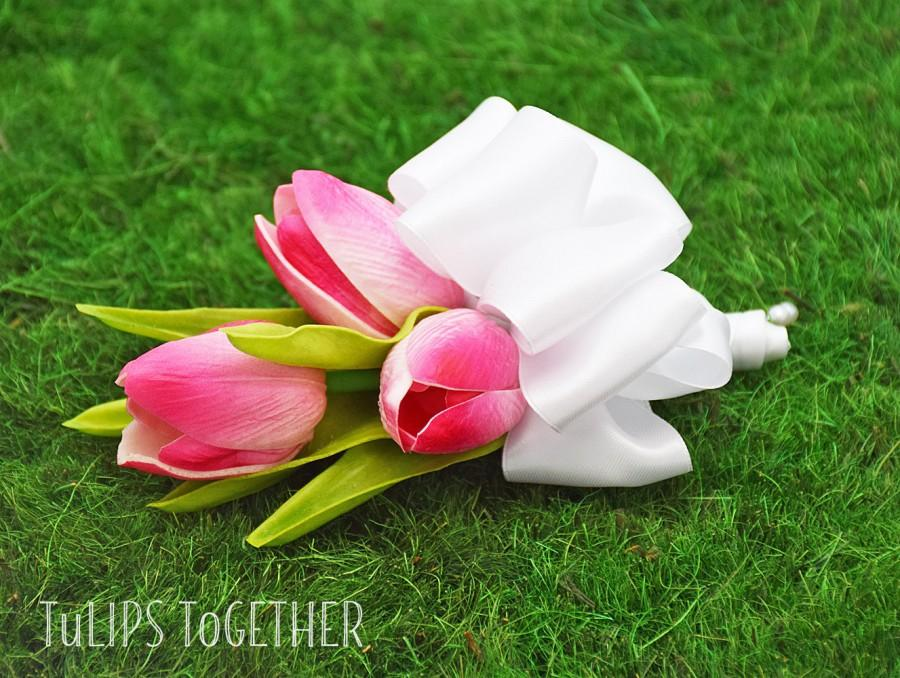 Mariage - Hot Pink Real Touch Tulip Corsage - Ready to Ship for Your Wedding Customize Your Real Touch Tulip Corsage Pin or Wrist Your Wedding Colors