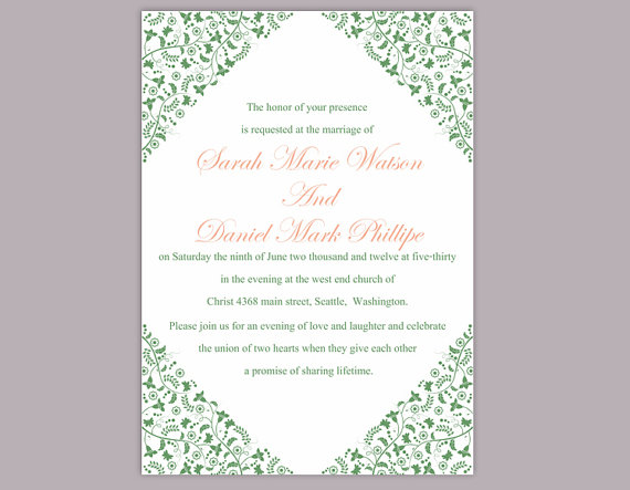 Hochzeit - DIY Wedding Invitation Template Editable Word File Instant Download Elegant Printable Invitation Green Wedding Invitation Floral Invitation