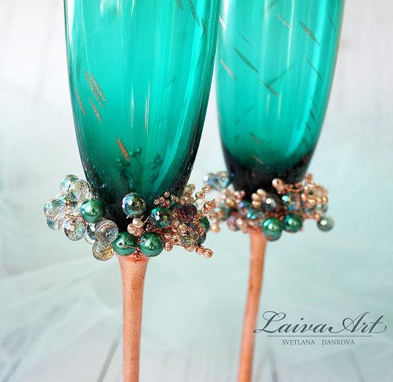 Wedding - Wedding Flutes Wedding Champagne Glasses Toasting Flutes Champagne flutes Emerald Teal Green Wedding Champagne Flutes