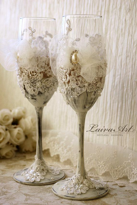 Wedding - Rustic Wedding Champagne Flutes Wedding Champagne Glasses Lace Wedding Vintage Wedding