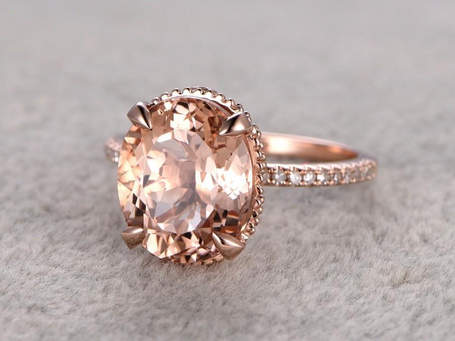 Wedding - 11x9mm big Morganite Engagement ring Rose gold,Diamond  wedding band,14k,Oval Cut Peach pink Gemstone Promise Bridal Ring,Claw Prongs,stack