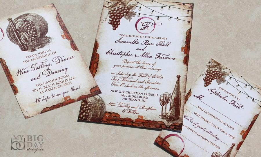 Amazing Vintage Winery Wedding Invitation Set. Vinyard Themed Wedding Invitations.  Vintage Vinyard Fairylights Wedding Invitation