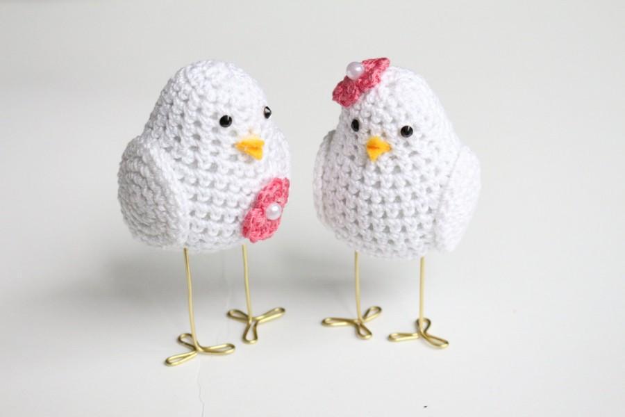 Crochet Love Bird Wedding Cake Topper Pink Bride And Groom Birds