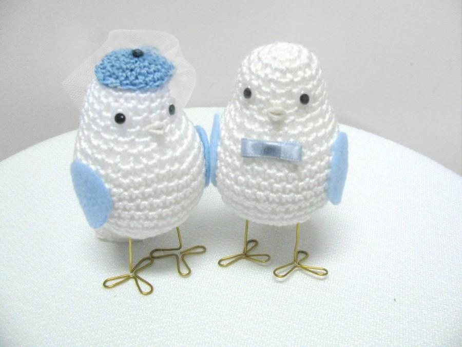 Mariage - Blue Wedding Cake Topper / Unique Cake Topper / Romantic Cake Topper / Wedding Love Birds In Blue, Something Blue, Bird Cake Topper