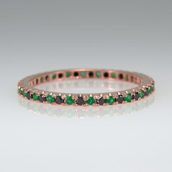 Wedding - Eternity ring - Wedding band - Black diamond ring - Emerald ring - Anniversary ring - White gold ring - Yellow gold ring - 14k ring
