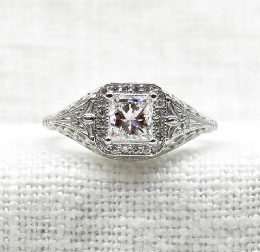 زفاف - Art Deco Style 14k Gold and Princess Cut Diamond Engagement Ring .90 Carats
