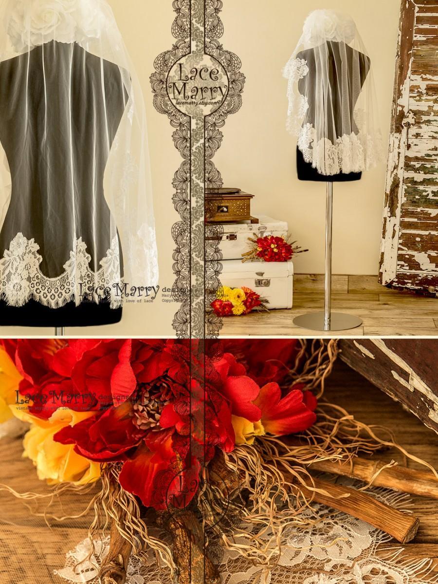Mariage - Murka Wedding Veil, Fingertip Bridal Veil, Elbow Length Wedding Veil, Waist Length Veils, Wedding Veils, Lace Veils, Mantilla Veil, Veils