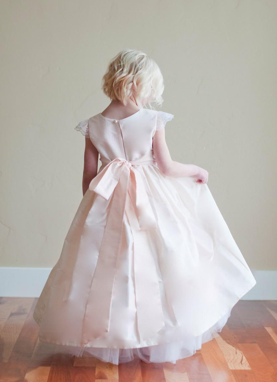Flower Girl Dress Silk Flower Girl Dress Blush Pink Flower Girl
