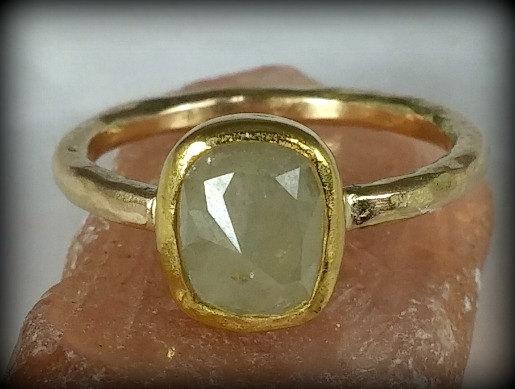 زفاف - solitaire ring, engagement ring, rose cut  diamond ring, solid gold engagement ring, diamond and yellow gold wedding ring
