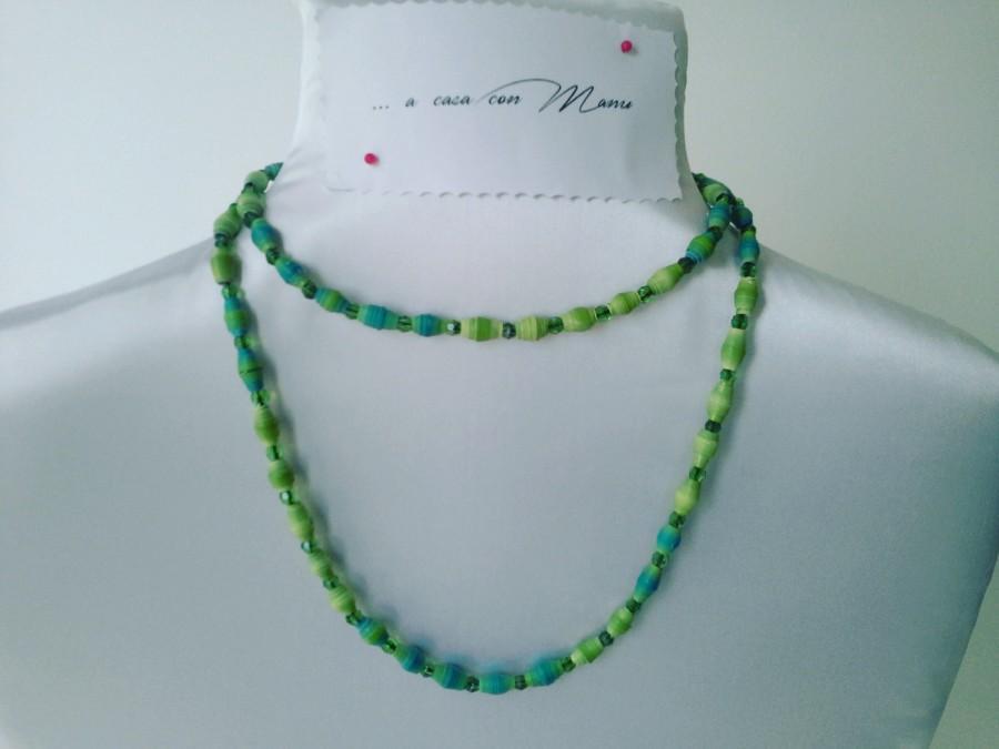 Mariage - Collana lunga con perle di carta verdi e azzurro - long necklace with green pearls and blue paper - Fatta a mano - made in Italy