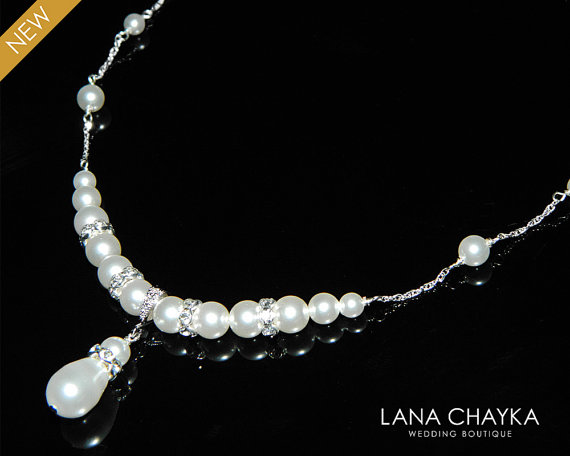 Mariage - White Pearl Bridal Necklace Swarovski Pearl Sterling Silver Necklace Wedding Necklace White Pearl Delicate Necklace Bridal Pearl Jewelry
