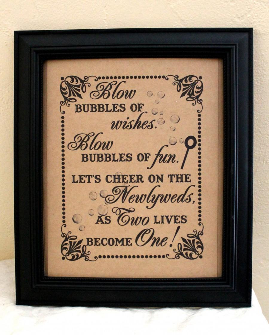 Свадьба - 8 x 10  Wedding Sign- Bubble Send Off - Bubble First Dance- Bubble Recessional-Bubble Favors Single Sheet (Style: BUBBLES)