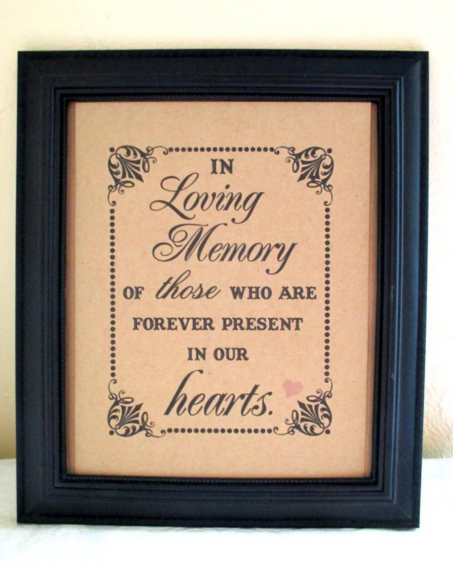 Mariage - 8 x 10 PRINT  Loved Ones/ Remembrance / In Loving Memory Of - Wedding Sign -Reunion- Single Sheet (Style: LOVING MEMORY)