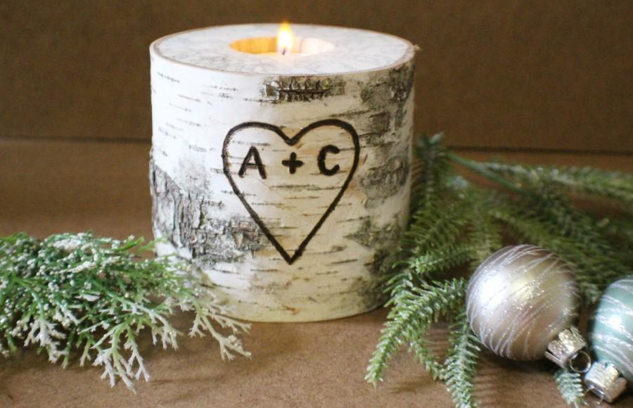 Candle Wedding Gift: Wedding Centerpiece, Personalized Gift Birch Candle Holder