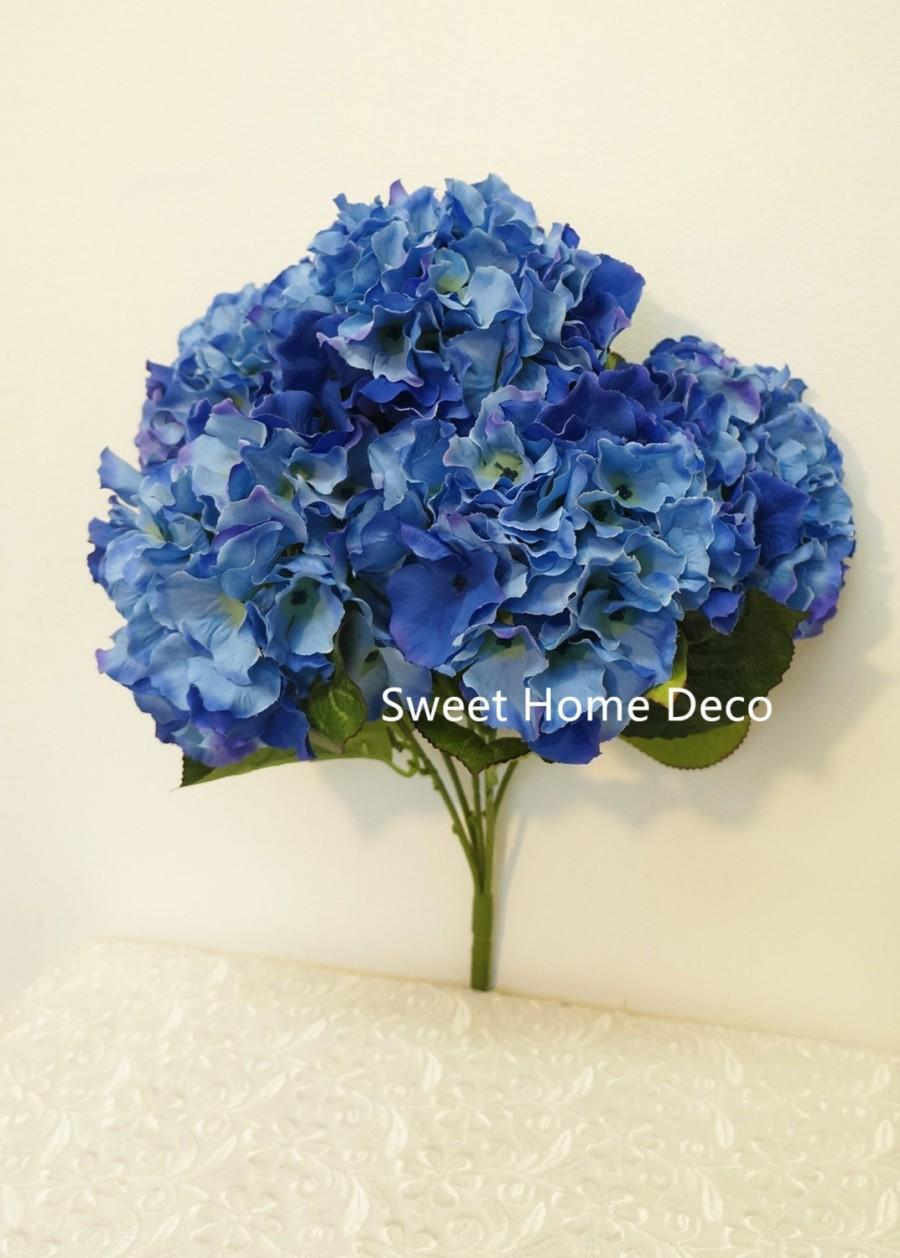 Jennysflowershop 18 super soft silk hydrangea artificial flower jennysflowershop 18 super soft silk hydrangea artificial flower bush 5 stem 5 mop heads with no pot cobalt blue izmirmasajfo