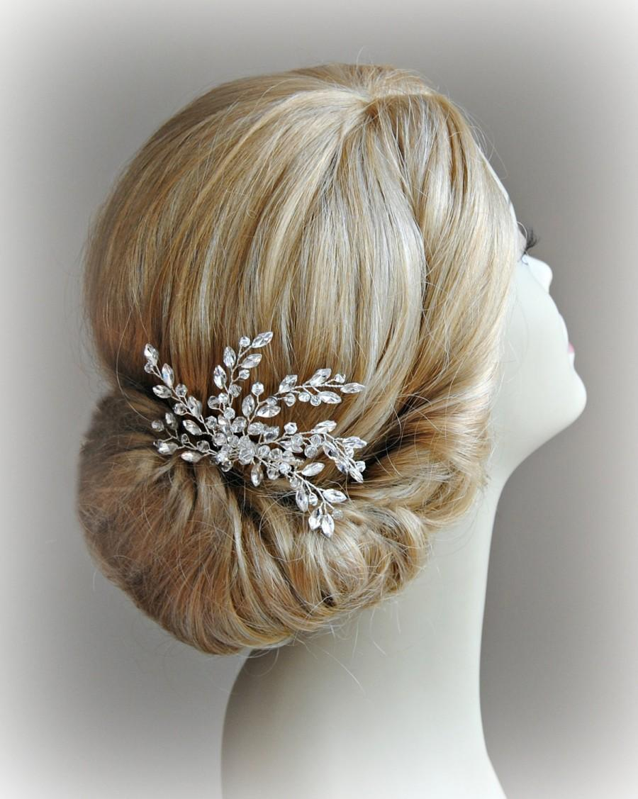 Mariage - Crystal Bridal Comb, Crystal Rhinestones and Beads Wired Hair Comb, Wedding Headpiece, Silver or Gold - LACEY