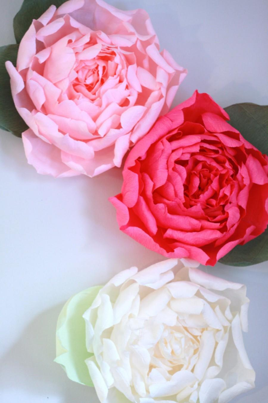 Set Of 3 Giant Paper Flowers Huge Paper Peony Display Paper Flower