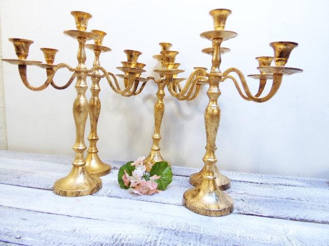Wedding - 15  Wedding Candelabras 3 arm Shabby Candle Holder Antique Gold Distressed