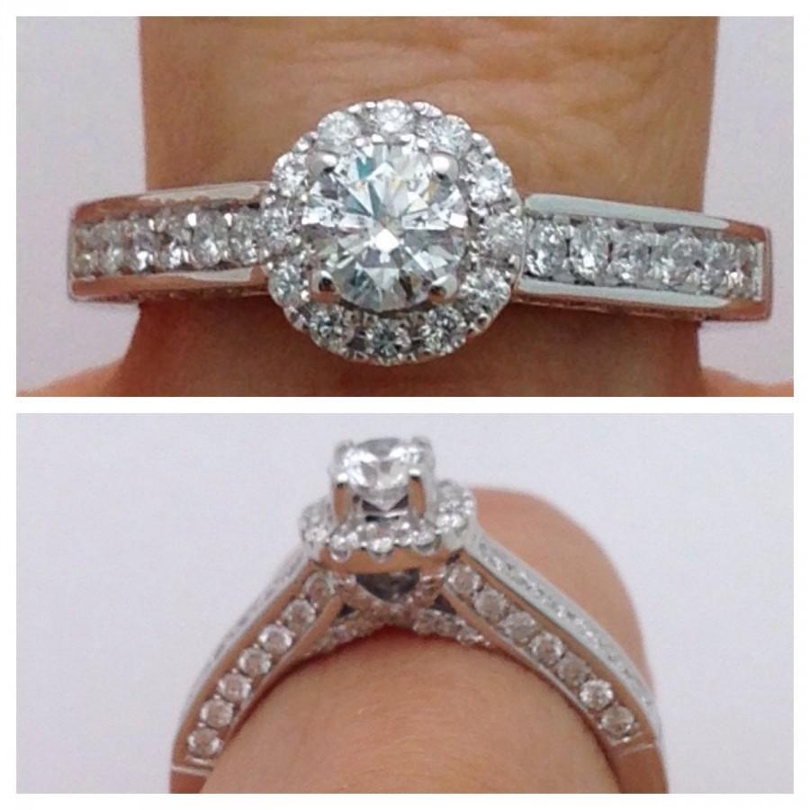 Mariage - Round 1 Carat Diamond Halo Engagement Ring - 14K White Gold