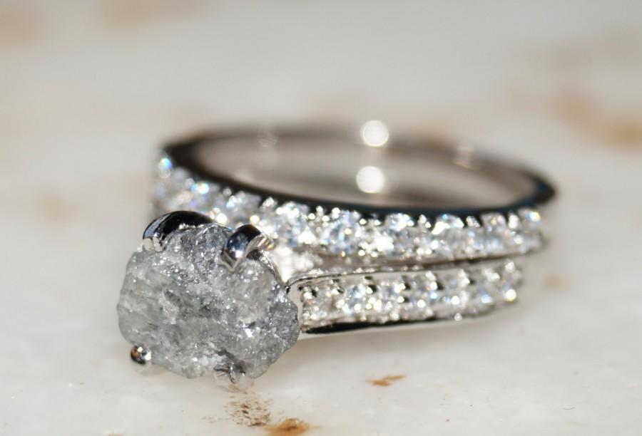 Hochzeit - Raw diamond ring, Gray white diamond ring, diamond ring, promise ring, engagement ring, raw stone, rough diamond ring, natural diamond ring