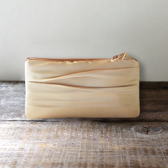 Mariage - Gold Satin Bridesmaid Clutch, Autumn Wedding Clutch