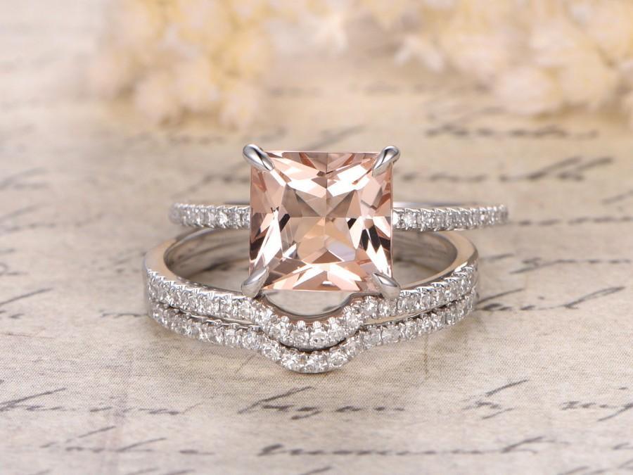 Mariage - Valentine 8mm Princess Cut Morganite Engagement Ring Set,Diamond Curved Wedding Band,Art Deco,14K White Gold,Bridal Set,Wedding Ring Set