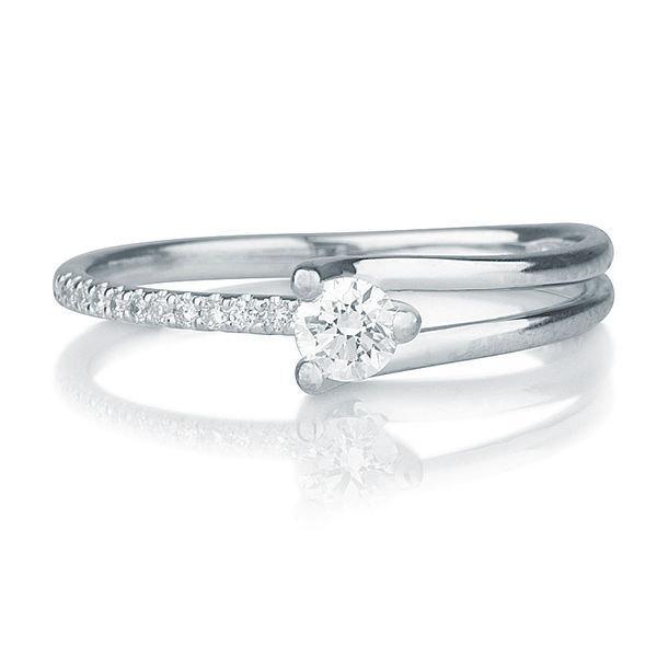 Wedding - Delicate Engagement Ring, 14K White Gold Ring, Diamond Ring, 0.26 TCW Diamond Engagement Ring, Unique Engagement Ring
